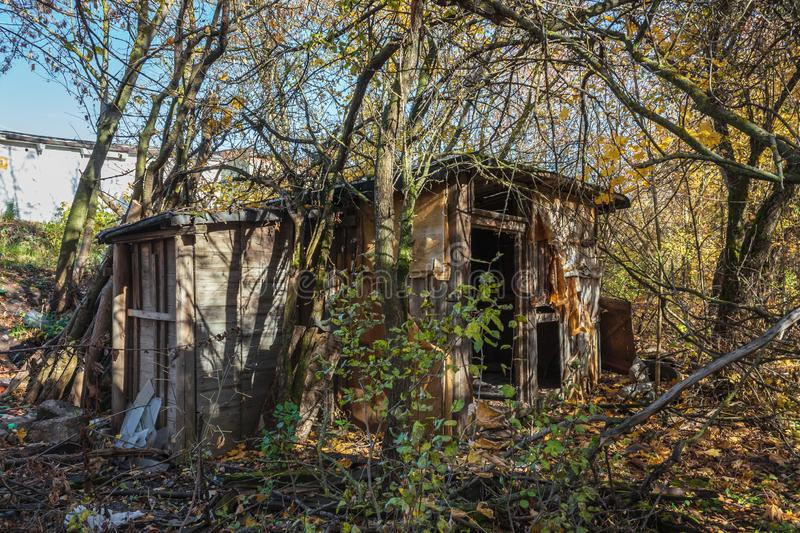 Abandoned buildings in golden autumn stock images