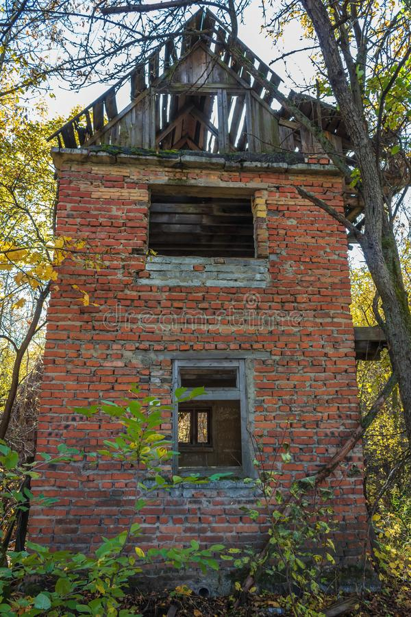 Abandoned buildings in golden autumn royalty free stock photos