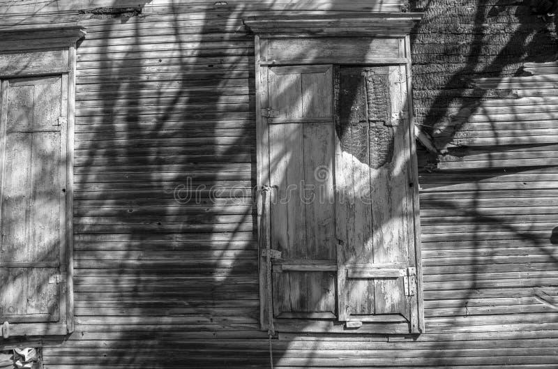 Abandoned burnt house. black and white photo stock image