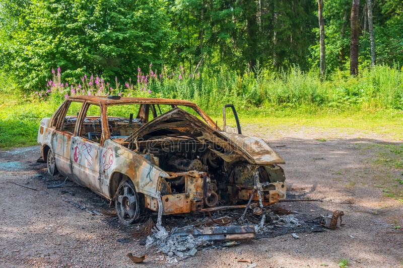 Abandoned burnt out car royalty free stock images