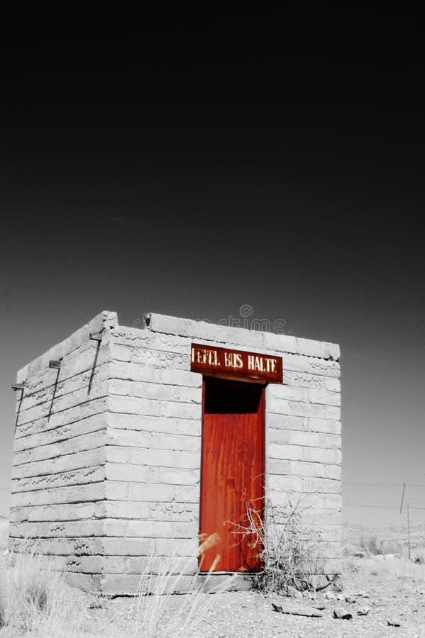 Abandoned bus stop in Namib desert, Namibia royalty free stock images