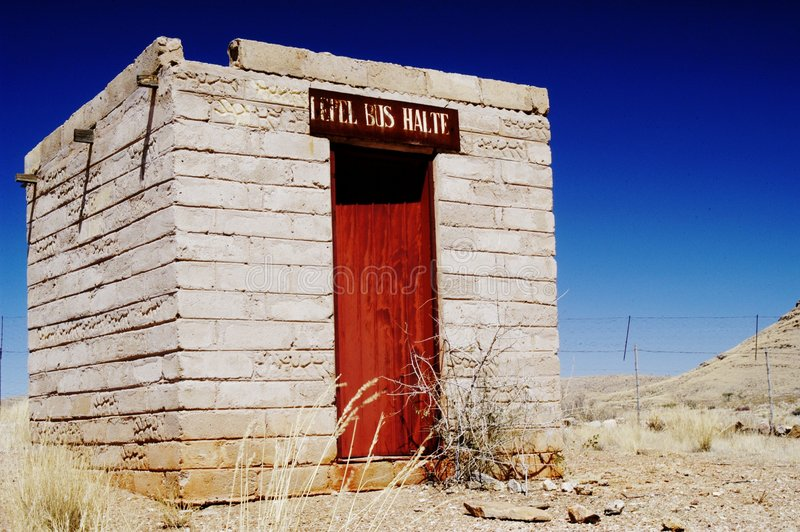 Abandoned bus stop in Namib desert, Namibia royalty free stock image