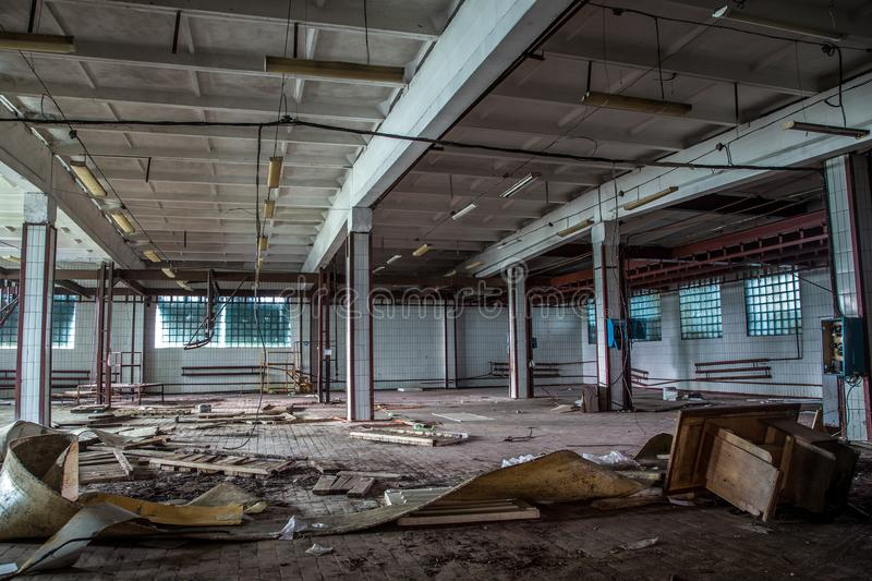 Abandoned butchery in meat processing plant. stock photos