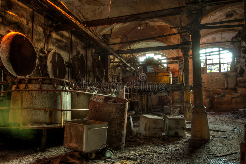 Abandoned butchery in meat processing plant. Slaughterhouse Ros stock image