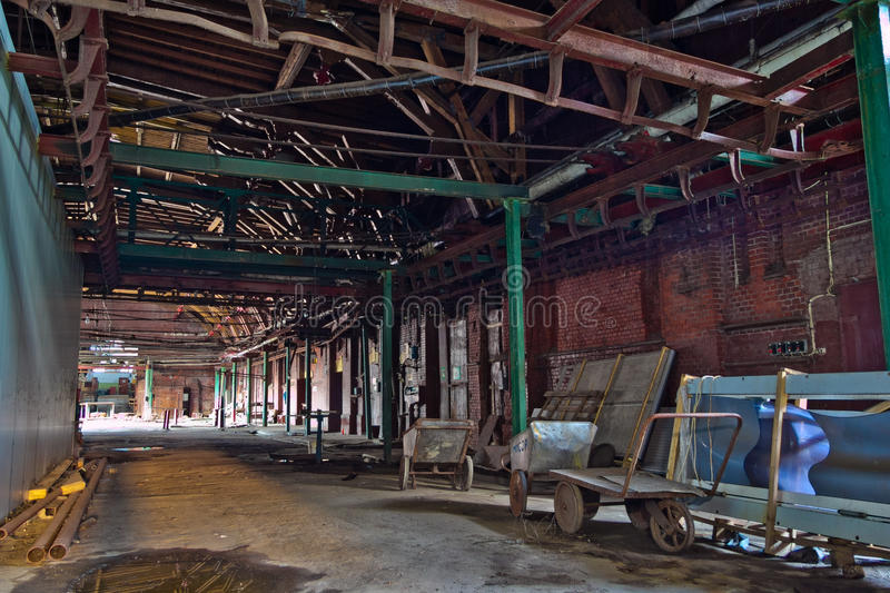 Abandoned butchery in meat processing plant. Slaughterhouse Rose stock image