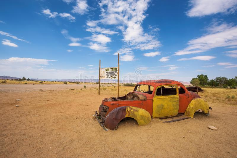 Abandoned car wreck in Solitaire located in the Namib Desert of Namibia royalty free stock photos