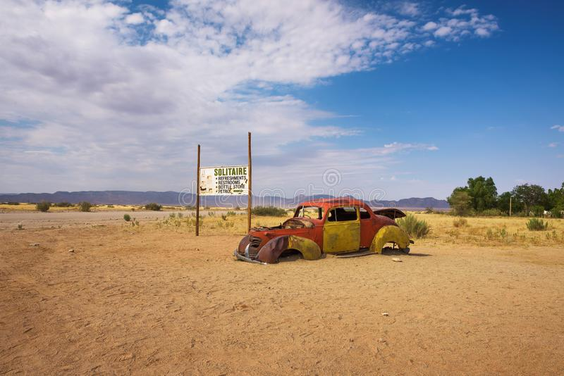 Abandoned car wreck in Solitaire located in the Namib Desert of Namibia royalty free stock image