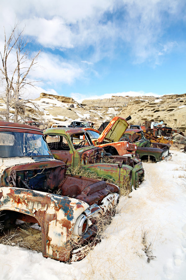 Abandoned cars in junkyard royalty free stock photos