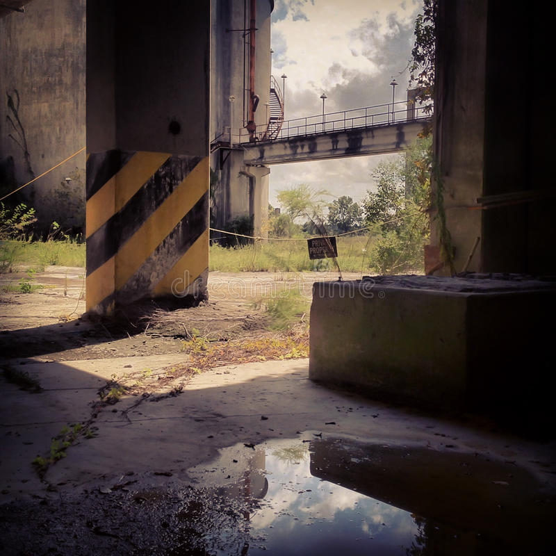 Abandoned Cement Factory Stock Image. Image Of Chimney