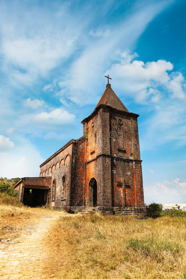 Abandoned christian church on top of Bokor mountain in Preah Monivong national park, Kampot, Cambodia. Abandoned christian church on top of Bokor mountain in stock image