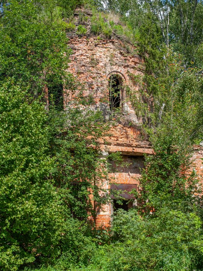 Abandoned Christian Orthodox Church in the village of Gribovo Kaluga region in Central Russia. In the forest, near the village of Gribovo, is the Church of the royalty free stock images