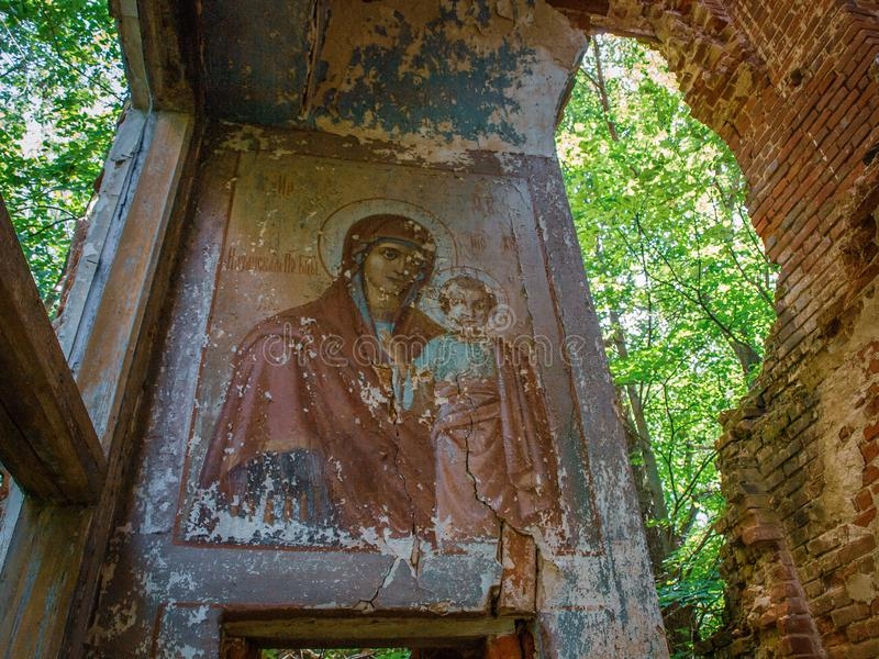 Abandoned Christian Orthodox Church in the village of Gribovo Kaluga region in Central Russia. In the forest, near the village of Gribovo, is the Church of the stock images