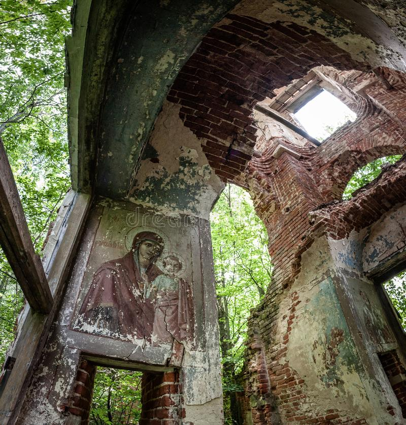 Abandoned Christian Orthodox Church in the village of Gribovo Kaluga region in Central Russia. In the forest, near the village of Gribovo, is the Church of the stock photos