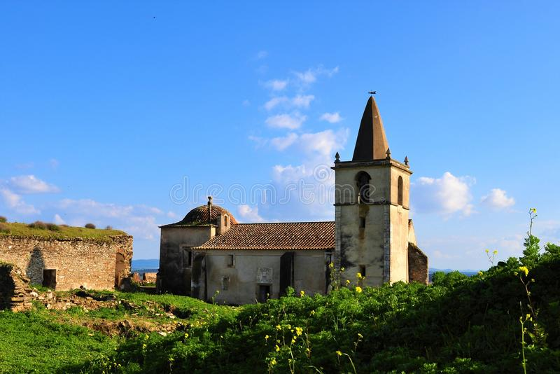The abandoned church of Juromenha inside the castle walls stock image