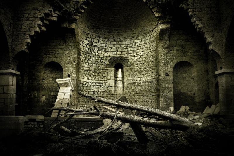 Abandoned church in ruins. Photograph from the inside of a semi-flooded ruined church of St. Nicholas that`s located on the shores of the artificial Lake Mavrovo royalty free stock images