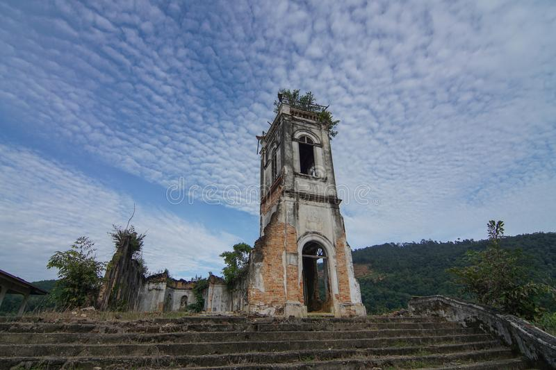 Abandoned Church of the Sacred Heart of Jesus/ royalty free stock image