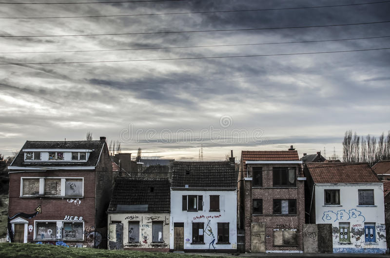 The abandoned city in Belgium. The abandoned Doel city in Belgium stock images