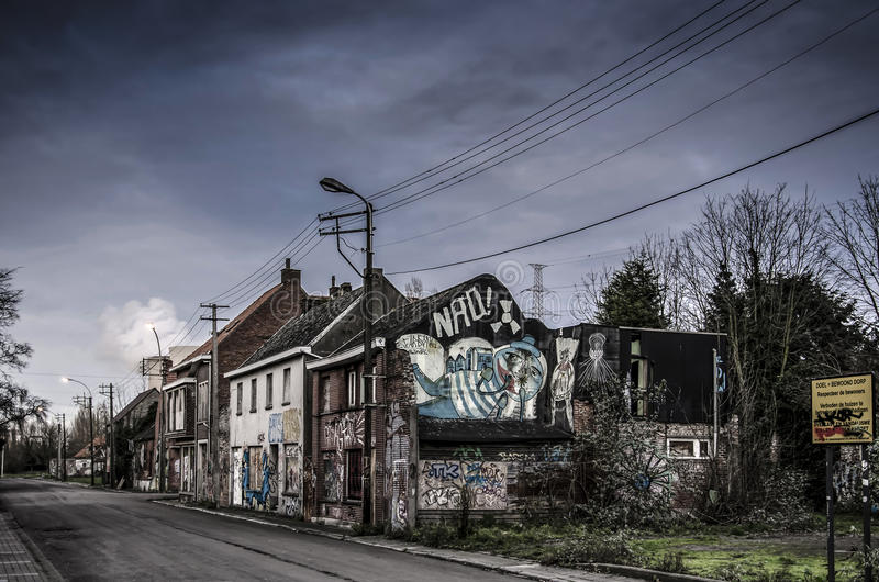 The abandoned city in Belgium. The abandoned Doel city in Belgium royalty free stock images