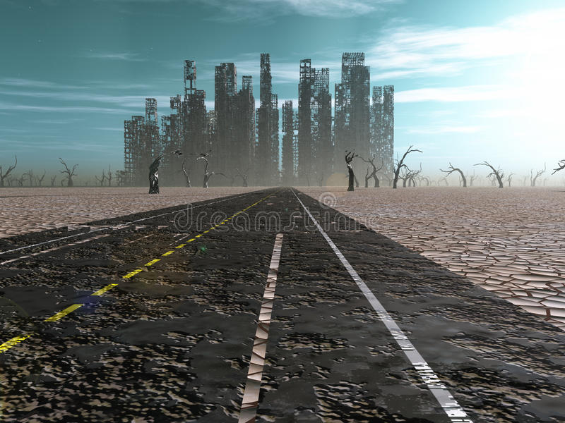 Abandoned city. Weathered road leads into abandoned city stock illustration