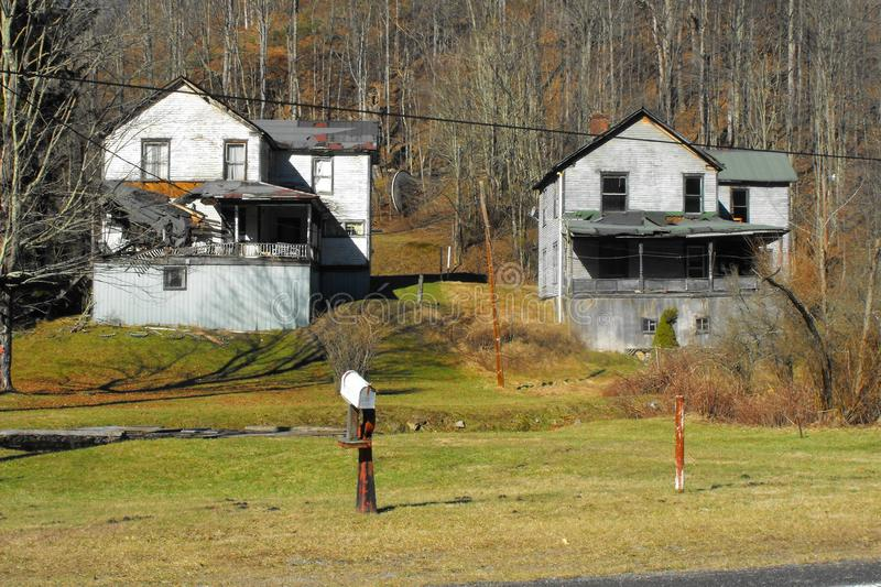 Abandoned coal camp houses. Old coal company houses in Layland, Fayette County, West Virginia in the New River Coalfield royalty free stock photos