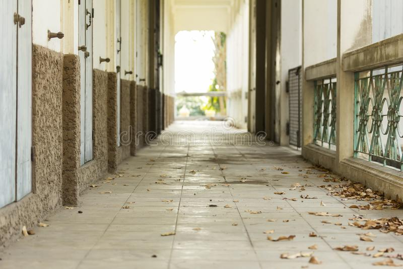 Abandoned corridor empty space old school stock image
