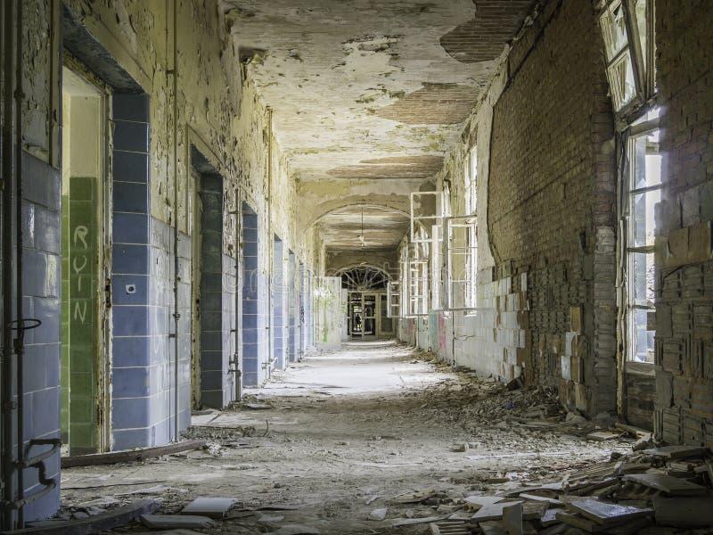 Abandoned corridor in hospital stock photo