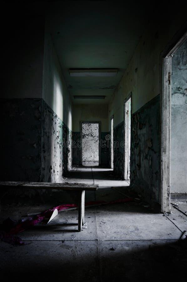 Abandoned corridor in pripyat royalty free stock photo