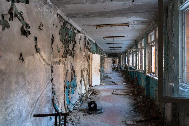 Abandoned corridor in pripyat royalty free stock images