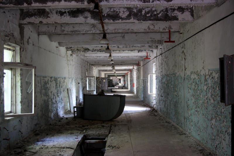 Abandoned corridor at secret object 'Duga', Chornobyl zone royalty free stock images