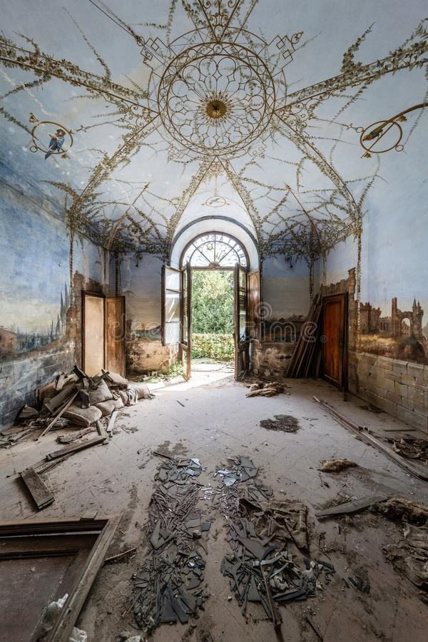 Abandoned decay villa in Italy stock images