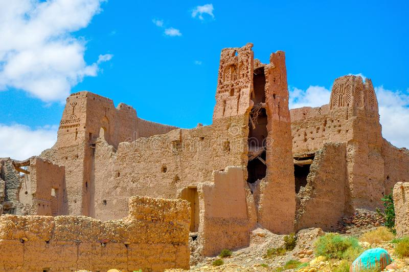 Abandoned and destroyed settlements in a desert part of Morocco royalty free stock photos