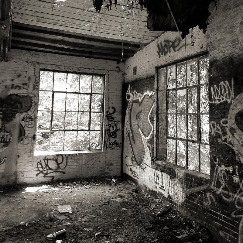Abandoned. And dilapidated building full of graffiti royalty free stock photography