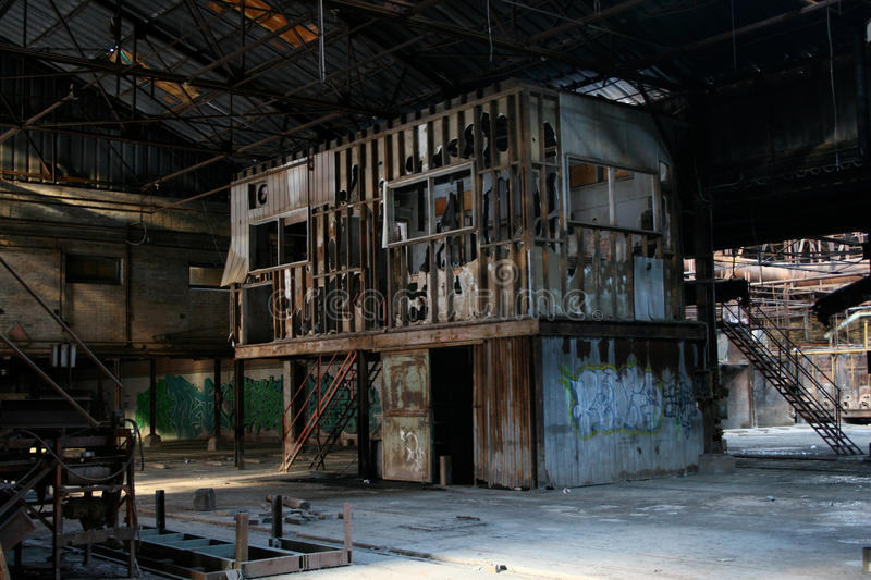 Abandoned Factory 5. Abandoned factory with a two floor smashed office with broken windows royalty free stock photos