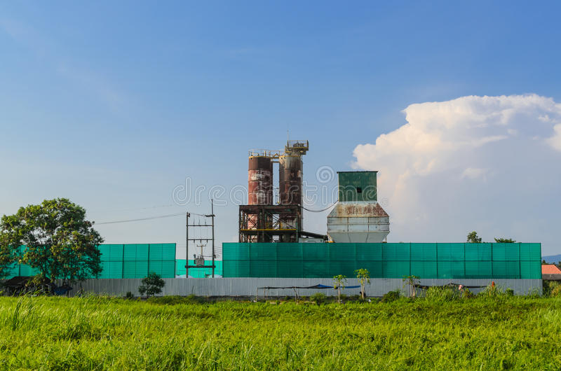 Abandoned factory in the field. In Thailand royalty free stock photo