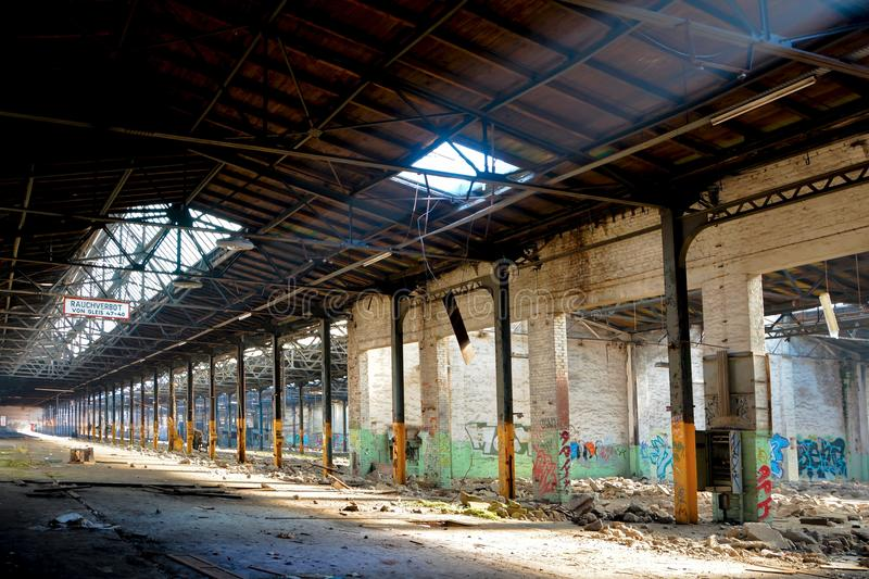 Abandoned factory. Factory floor of a disused abandoned factory in Magdeburg stock images