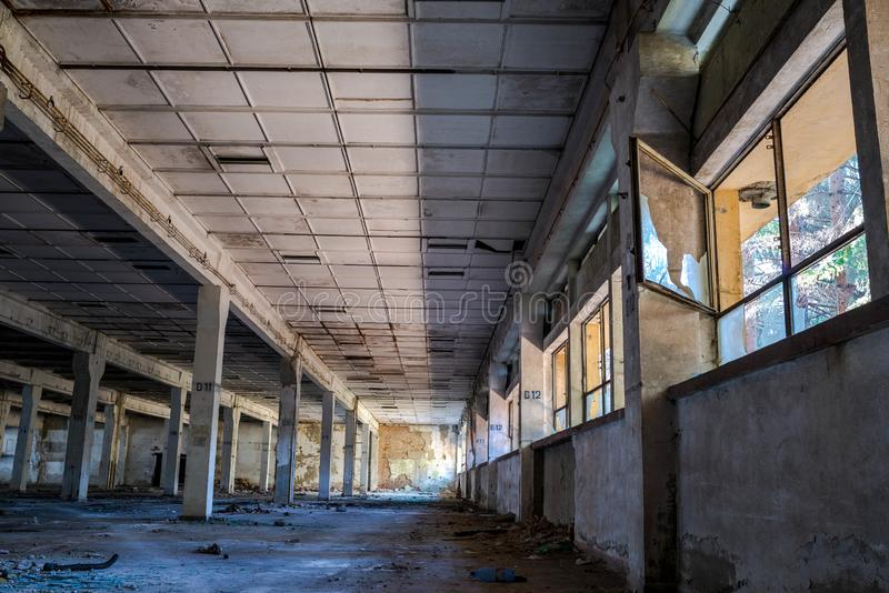 Abandoned factory interior in Romania. After the communist regim most of the factories were abandoned stock photos