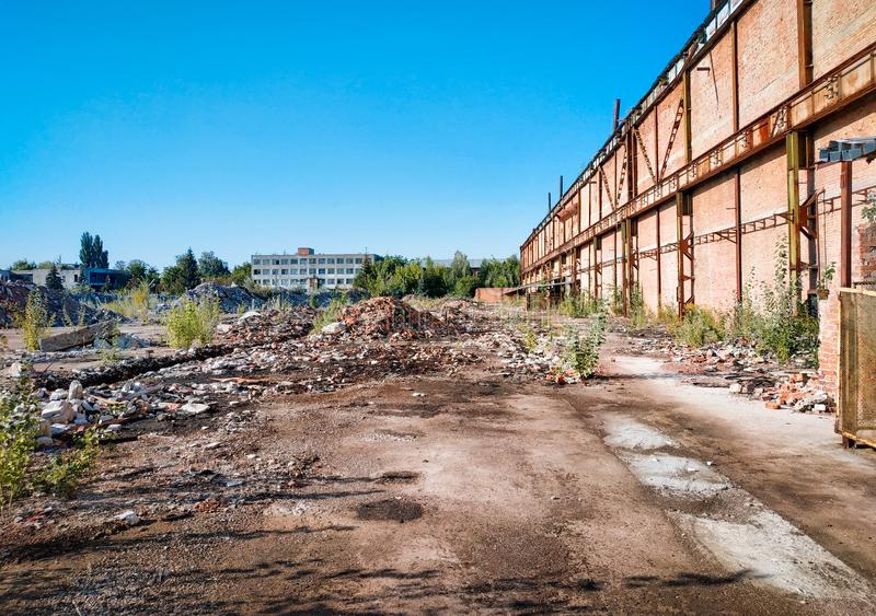 Abandoned factory processing plant destroyed after radiation. Abandoned factory processing plant destroyed after the radiation stock photography