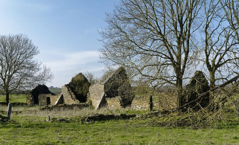 Abandoned Farm Buildings. Charterhouse, Mendip Hills, Somerset, UK stock images