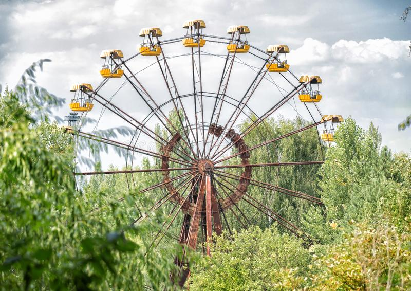 Abandoned ferris wheel in amusement park in Pripyat royalty free stock photography