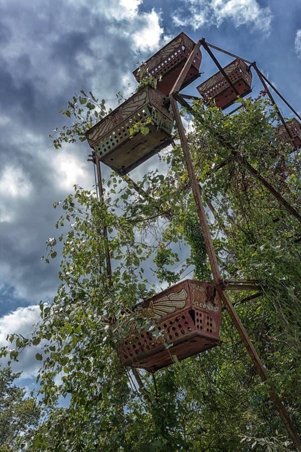 Abandoned Ferris Wheel. An abandoned ferris wheel at Lake Shawnee Abandoned Amusement Park stock images