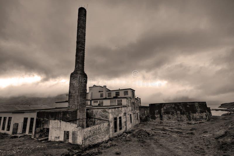 Abandoned fish processing factory royalty free stock image