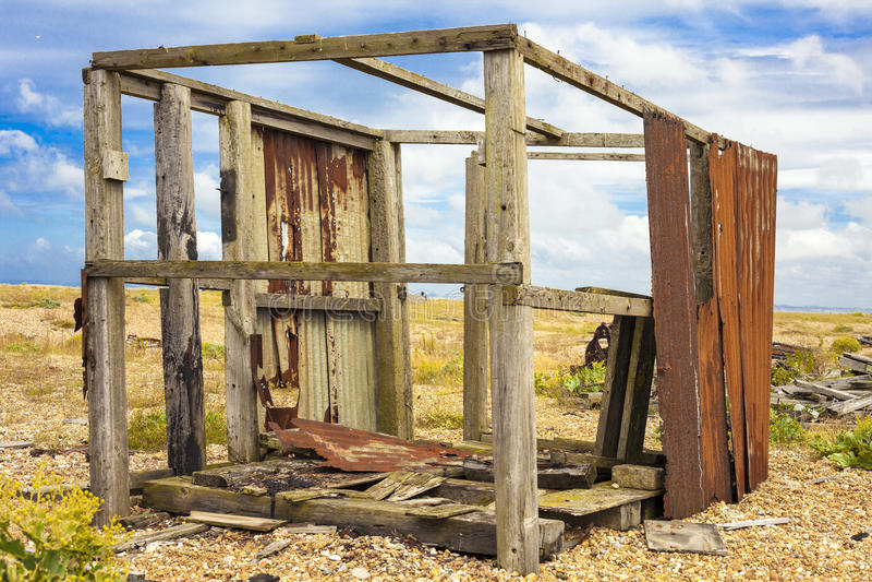 Abandoned fishing hut. stock photos