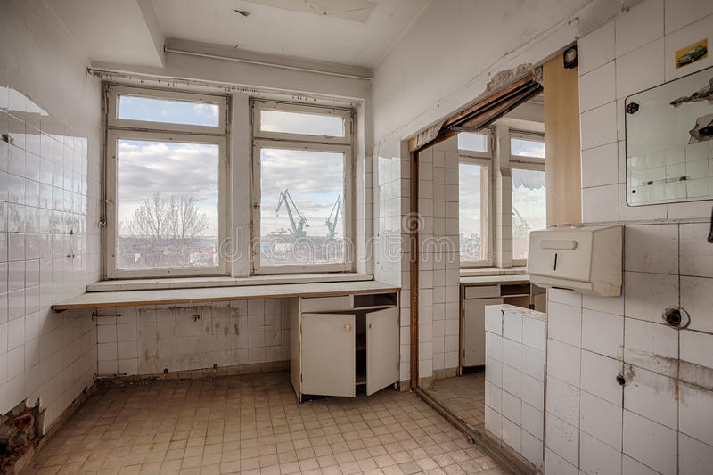Abandoned and forgotten hospital building. The interior of an abandoned hospital building royalty free stock images