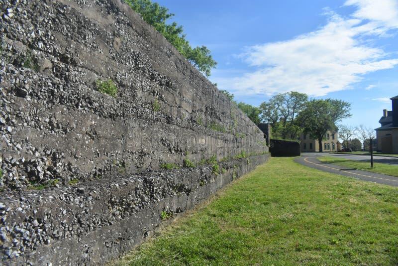 Abandoned Fort Hancock, Sandy Hook, NJ -04. Stone wall of abandoned Fort Hancock in Sandy Hook, New Jersey, USA royalty free stock images