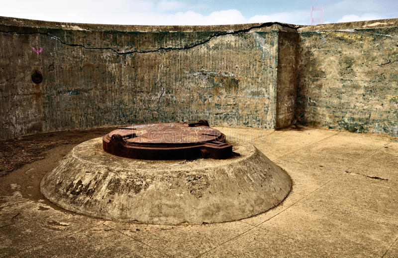Abandoned fort. Spenser battery site at the Golden gate area. San francisco royalty free stock images