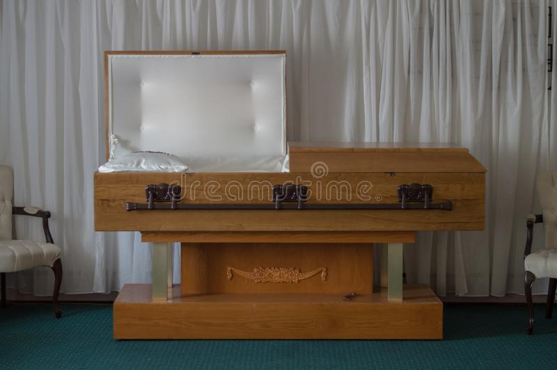 Abandoned Funeral Home Open Casket stock photos