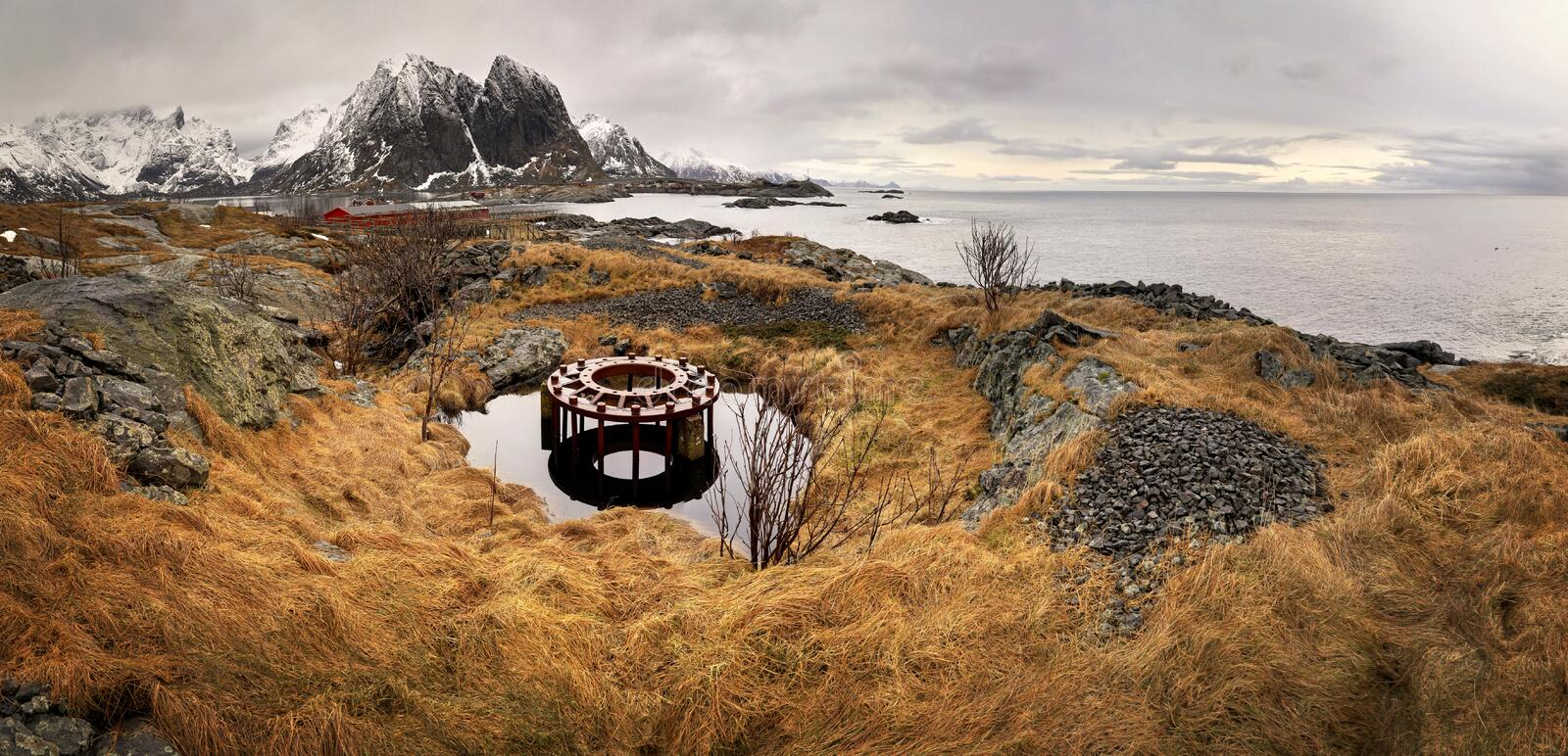 Abandoned german fortification with unfinished circle base for artillery gun from  WWII near Reine / Moskenes in Lofoten, Norway. One of the abandoned german stock image