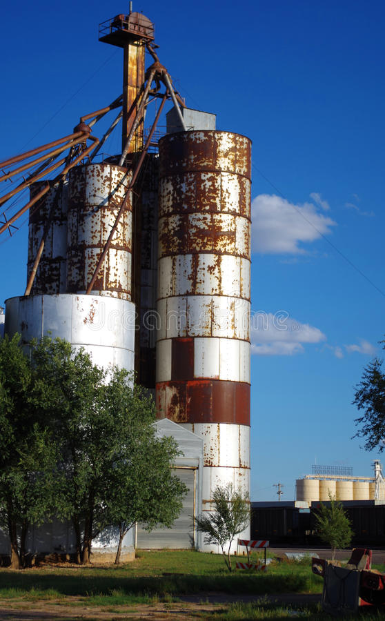 Abandoned Grain Elevator in Clovis, New Mexico. Old, abandoned, rusting grain storage elevator in Clovis, New Mexico stock images