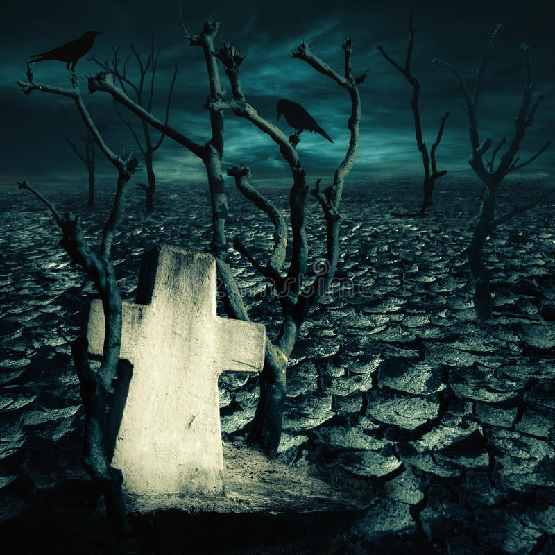 Abandoned grave at haunted mysterious desert. With black ravens seating on dead trees under dramatic night sky. Dark spooky landscape for evil and death concept stock photography