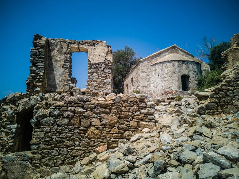 The Abandoned Greek Church on the Island Camellia / Kameriye. 1800 years old Orthodox church, located on Kameriye Island in the Aegean town of Marmaris and stock photos